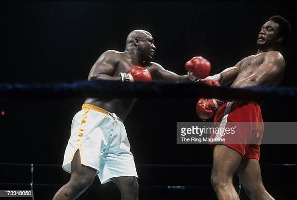 Joe Frazier throws a punch against George Foreman during the fight at Nassau Coliseum in Uniondale New York George Foreman won the NABF heavyweight...