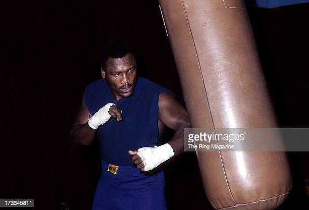 Joe Frazier trains with the punching bag in a gym in Philadelphia Pennsylvania