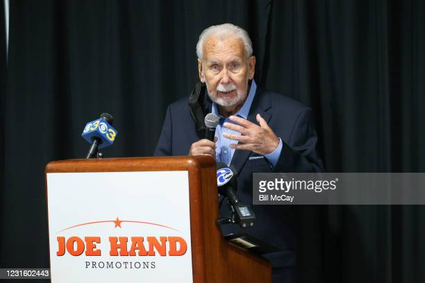 """Joe Frazier's former manager Joe Hand Sr. Attends the 50th Anniversary Ali-Frazier """"Fight of the Century"""" Statue Dedication on March 8, 2021 at Joe..."""