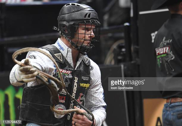 Joe Frost after riding the bull Arctic Assassin during the Professional Bullriders Mason Lowe Memorial on February 16 at Enterprise Center St Louis MO