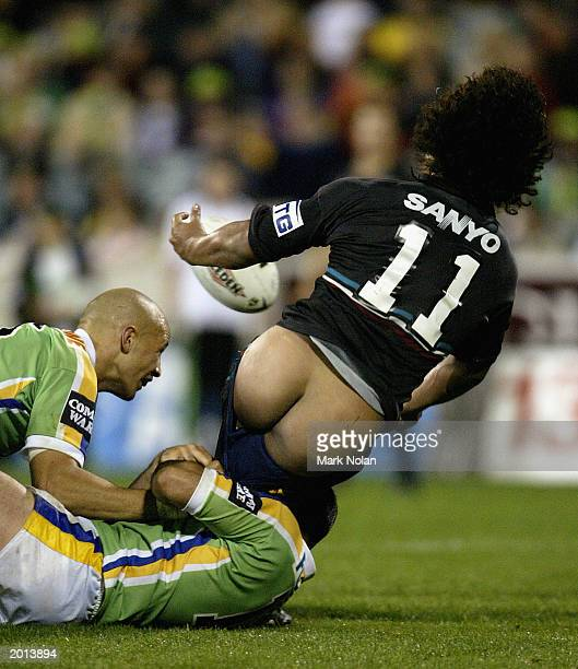 Joe Galuvao of the Panthers caught with his pants down during the round 10 NRL match between the Canberra Raiders and the Penrith Panthers May 17...