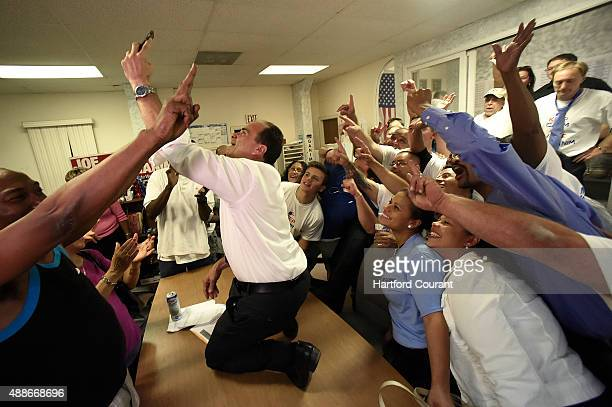 Joe Ganim celebrates with a selfie at his campaign headquarters after claiming victory over incumbent mayor Bill Finch in the Democratic mayoral...