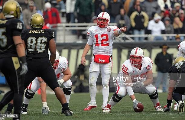 Joe Ganz of the Nebraska Cornhuskers calls the play against the Colorado Buffaloes during Big 12 College Football action at Folsom Field on November...