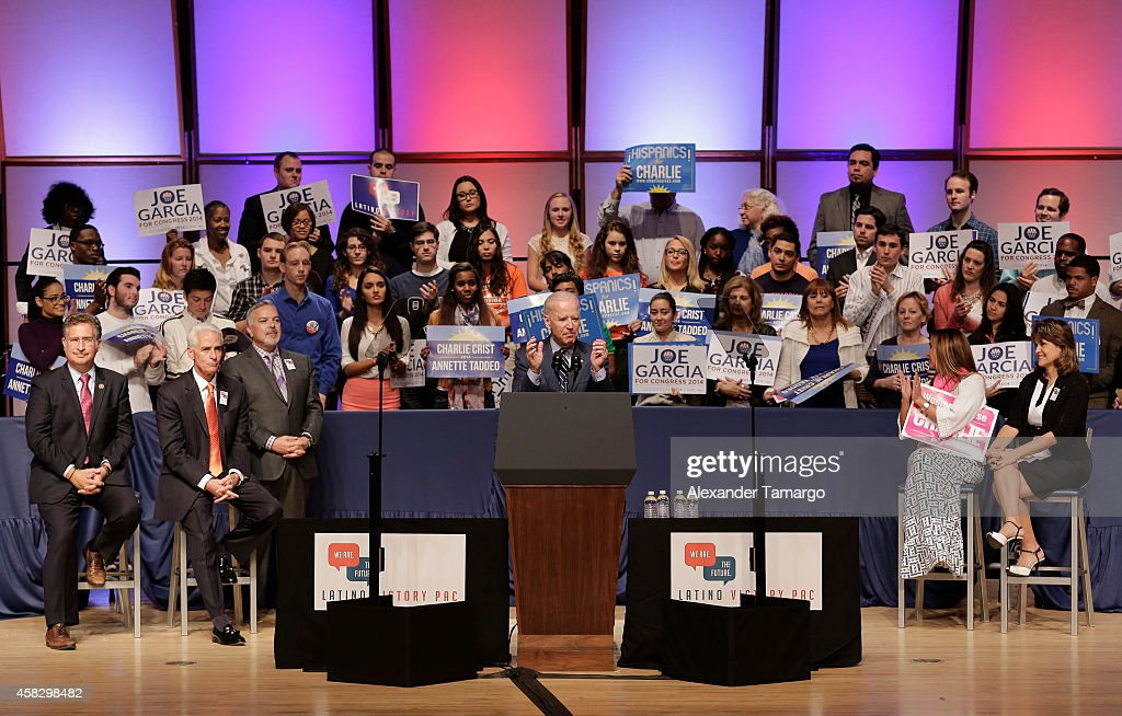 Joe Garcia, Charlie Crist, Henry Munoz, Joe Biden, Carole Crist and Annette Taddeo are seen at the Latino Victory Project Rally at Florida International University on November 2, 2014 in Miami, Florida.
