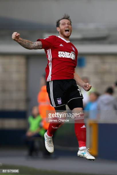 Joe Garner of Ipswich celebrates scoring his sides first goal during the Sky Bet Championship match between Millwall and Ipswich Town at The Den on...