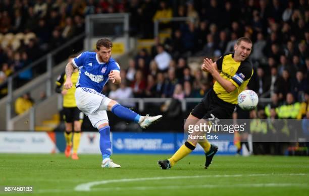 Joe Garner of Ipswich shoots at goal during the Sky Bet Championship match between Burton Albion and Ipswich Town at Pirelli Stadium on October 28...