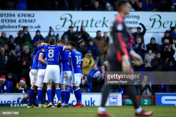Joe Garner of Ipswich Town celebrates scoring his sides second goal during the Sky Bet Championship match between Ipswich Town and Reading at Portman...