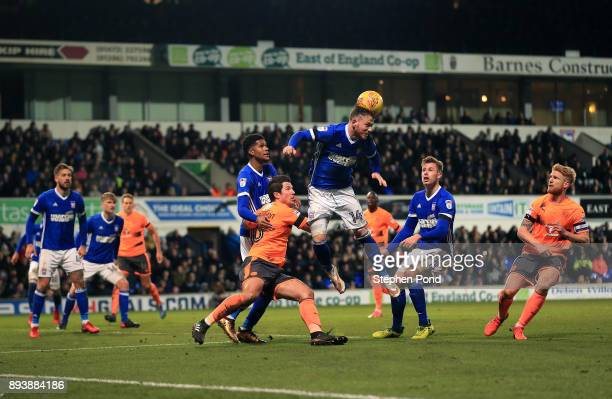 Joe Garner of Ipswich Town heads clear during the Sky Bet Championship match between Ipswich Town and Reading at Portman Road on December 16 2017 in...
