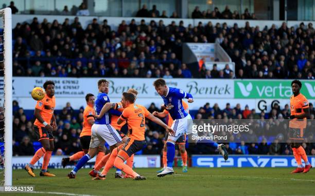 Joe Garner of Ipswich Town scores his side's second goal during the Sky Bet Championship match between Ipswich Town and Reading at Portman Road on...