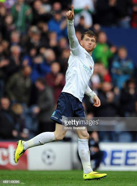 Joe Garner of Preston North End celebrates scoring their first goal during the Sky Bet League One Play Off Semi Final first leg match between Preston...