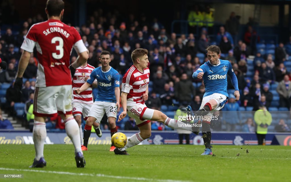 Joe Garner of Rangers scores his team's sixth goal during the Scottish Cup Quarter final match between Rangers and Hamilton Academical at Ibrox Stadium on March 4, 2017 in Glasgow, Scotland.