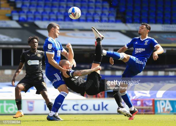 Joe Garner of Wigan Athletic attempts to a overhead kick during the Sky Bet League One match between Ipswich Town and Wigan Athletic at Portman Road...