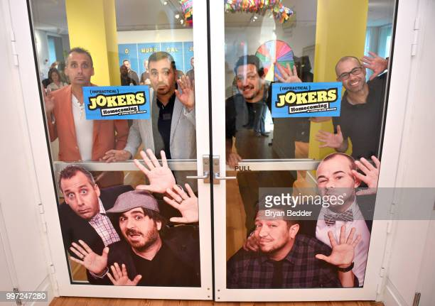 Joe Gatto Brian Quinn Sal Vulcano and James Murray attend the opening event for the Impractical Jokers Homecoming Exhibit a celebration of the hit...