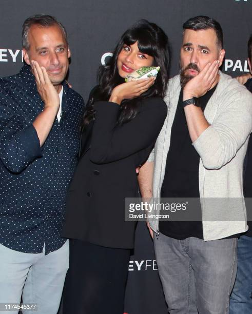 Joe Gatto Jameela Jamil and Brian Quinn of The Misery Index attend The Paley Center for Media's 2019 PaleyFest Fall TV Previews TBS at The Paley...