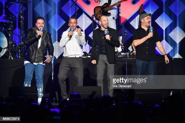 Joe Gatto James Murr Murray and Brian Q Quinn of Impractical Jokers speak onstage at the Z100's Jingle Ball 2017 press room on December 8 2017 in New...