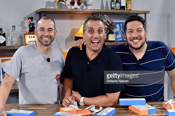 Joe Gatto James ÒMurrÓ Murray and Sal Vulcano of TruTV's Impractical Jokers visit with Tiffany Smith and Kristian Harloff at the Fandango Studio at...