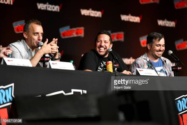 "Joe Gatto Sal Vulcano and Brian ""Q Quinn speak onstage at the Four Jokers Seven Seasons One Panel TruTV's Impractical Jokers Return to NYCC Panel..."