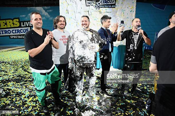 Joe Gatto Sal Vulcano James Murray and Brian Quinn speak during the Impractical Jokers Live Nitro Circus Spectacular at Prudential Center on November...