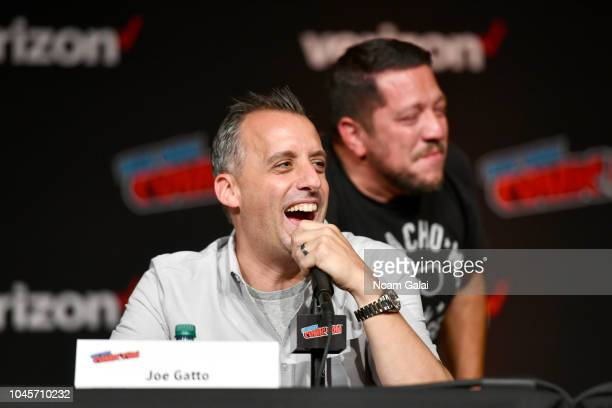 Joe Gatto speaks onstage at the Four Jokers Seven Seasons One Panel TruTV's Impractical Jokers Return to NYCC Panel during New York Comic Con 2018 at...