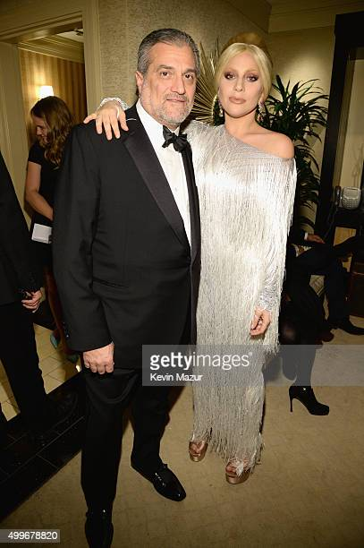 Joe Germanotta and his daughter singer Lady Gaga pose backstage during Sinatra 100 An AllStar GRAMMY Concert celebrating the late Frank Sinatra's...