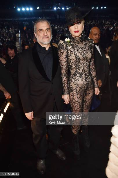 Joe Germanotta and recording artist Lady Gaga attend the 60th Annual GRAMMY Awards at Madison Square Garden on January 28 2018 in New York City