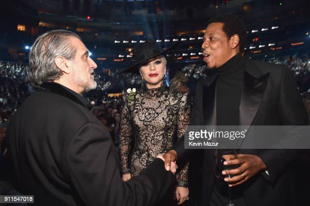 Joe Germanotta recording artist Lady Gaga and recording artist Jay Z attend the 60th Annual GRAMMY Awards at Madison Square Garden on January 28 2018...