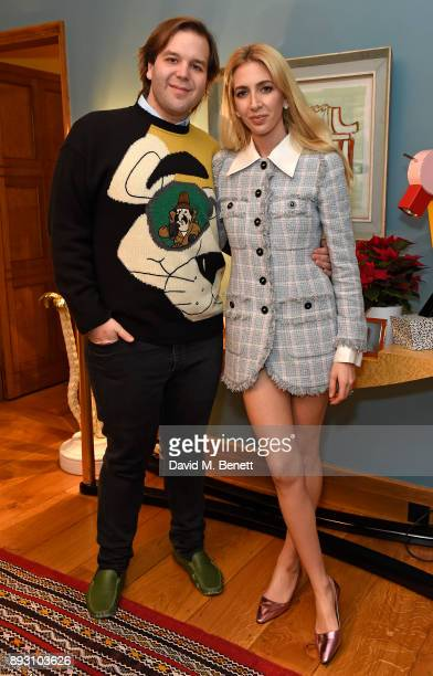 Joe Getty and Sabine Getty attend SEMAINE x SABINE GETTY Christmas cocktail party on December 14 2017 in London England