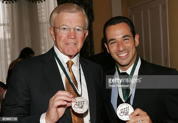 Joe Gibbs and Helio Castroneves attends the 23rd Annual Great Sports Legends Dinner to Cure Paralysis at the Waldorf Astoria on September 22, 2008 in...