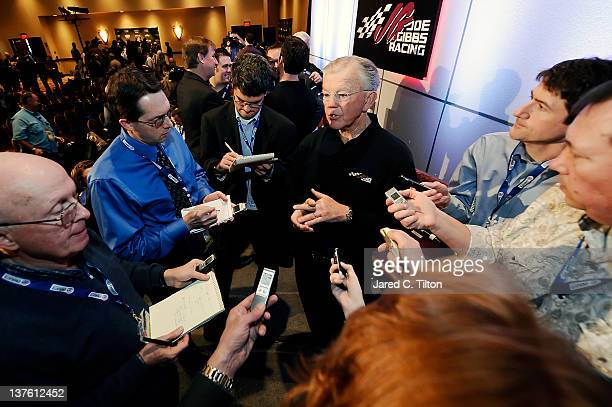 Joe Gibbs owner of Joe Gibbs Racing speaks with the media during the 2012 NASCAR Sprint Cup Series Media Tour hosted by Charlotte Motor Speedway on...