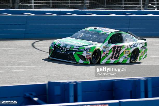 Joe Gibbs Racing Team Driver Kyle Busch in the Interstate Batteries car takes his laps during qualifying for the Auto Club 400 NASCAR Monster Energy...