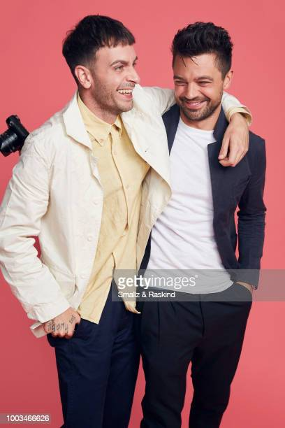 Joe Gilgun and Dominic Cooper from AMC's 'Preacher' pose for a portrait at the Getty Images Portrait Studio powered by Pizza Hut at San Diego 2018...
