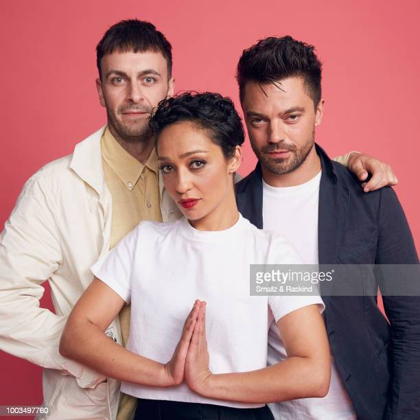 Joe Gilgun Ruth Negga and Dominic Cooper from AMC's 'Preacher' pose for a portrait at the Getty Images Portrait Studio powered by Pizza Hut at San...
