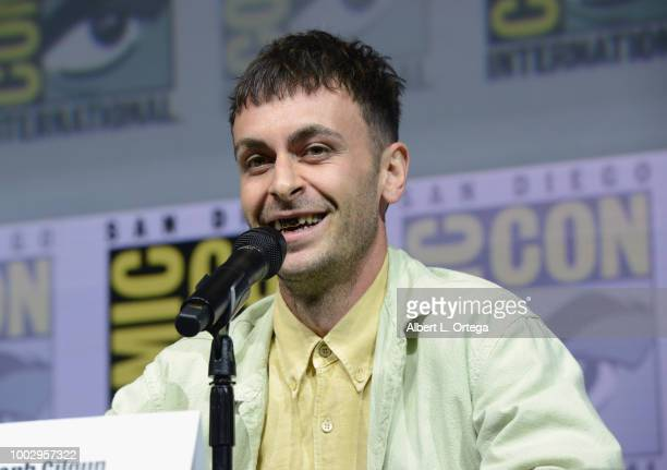 """Joe Gilgun speaks onstage at AMC's """"Preacher"""" panel during Comic-Con International 2018 at San Diego Convention Center on July 20, 2018 in San Diego,..."""