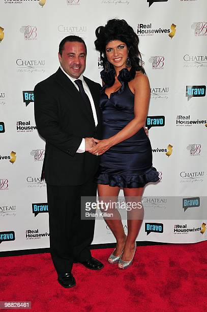 Joe Giudice and Teresa Giudice attend Bravo's The Real Housewives of New Jersey season two premiere at The Brownstone on May 3 2010 in Paterson New...