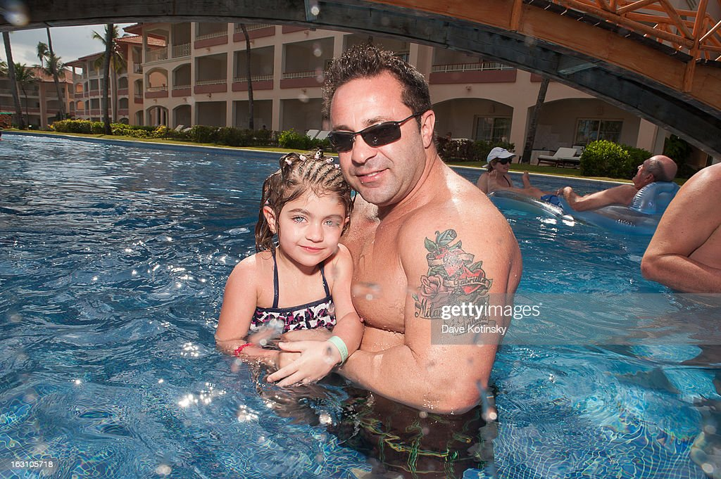 Joe Giudice poses with daughter Audriana Giudice at Majestic Resort on March 4, 2013 in Punta Cana, Dominican Republic.