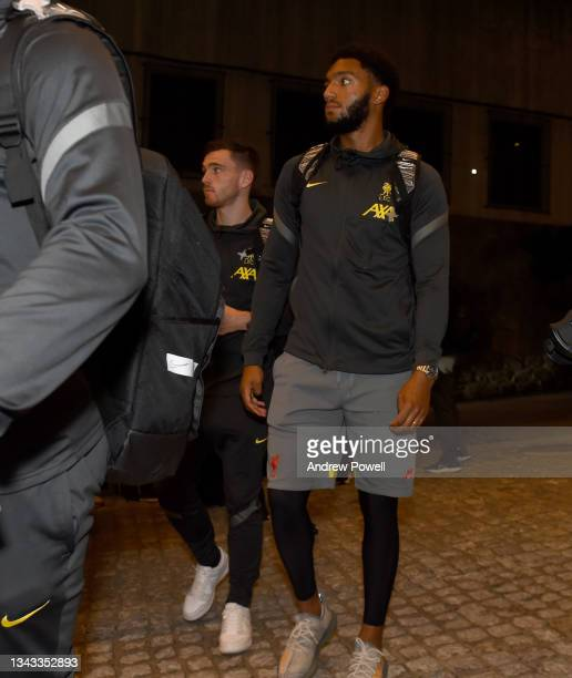 Joe Gomez and Andy Robertson of Liverpool arriving before the UEFA Champions League Group B match between FC Porto and Liverpool FC on September 27,...