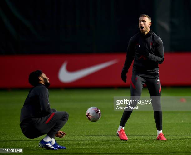 Joe Gomez and Jordan Henderson captain of Liverpool during a training session at Melwood Training Ground on November 05 2020 in Liverpool England