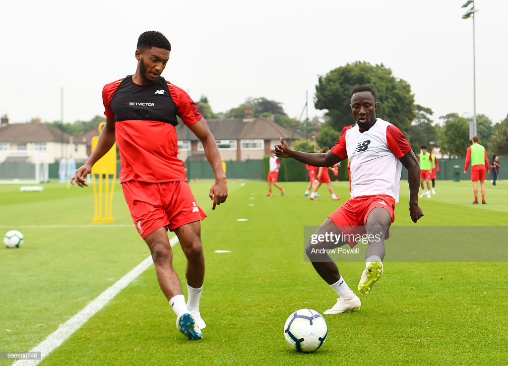 Joe Gomez and Naby Keita of Liverpool during a training session at Melwood Training Ground on July 12, 2018 in Liverpool, England.