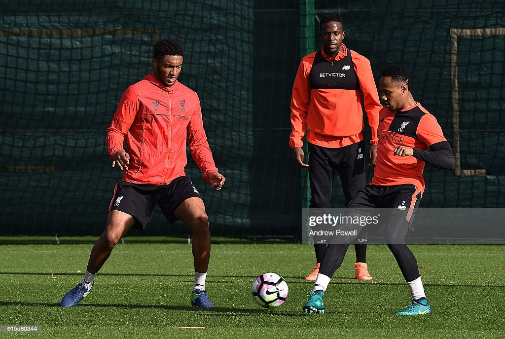 Joe Gomez and Nathaniel Clyne of Liverpool during a training session at Melwood Training Ground on October 19, 2016 in Liverpool, England.