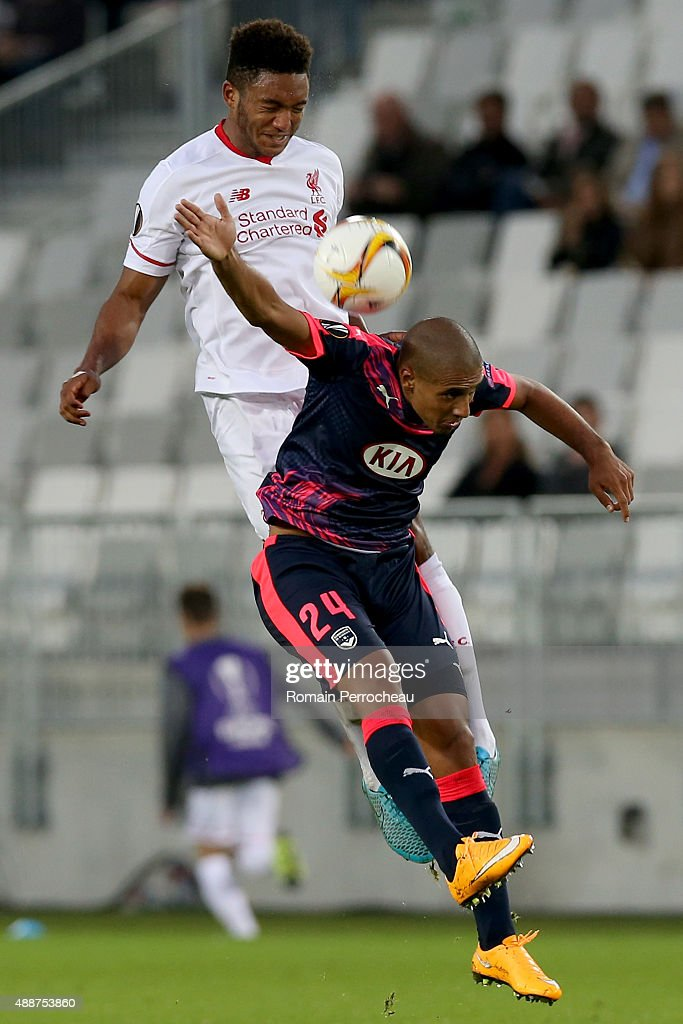 Joe Gomez for Liverpool FC and Wahbi Khazri for FC Girondins de Bordeaux battle for the ball during the Europa League game between FC Girondins de Bordeaux and Liverpool FC at Matmut Atlantique Stadium on September 17, 2015 in Bordeaux, France.