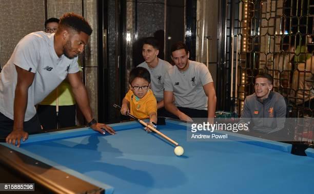 Joe Gomez Kamil Grabara and Danny Ward of Liverpool gets a visit from Camp Quality Hong Kong Charity at the Ritz Carlton hotel during the PreSeason...