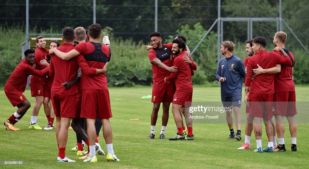 Joe Gomez, Mohamed Salah, Ovie Ejaria and Jon Flanagan of Liverpool during a training session at Rottach-Egern on July 27, 2017 in Munich, Germany.