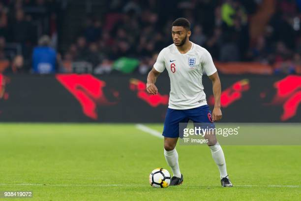 Joe Gomez of England controls the ball during the international friendly match between Netherlands and England at Amsterdam Arena on March 23 2018 in...