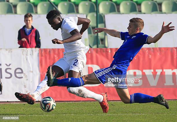 Joe Gomez of England in action against Eldar Civic of Bosnia during the European Under 21 Qualifier match between Bosnia and Herzegovina U21 and...