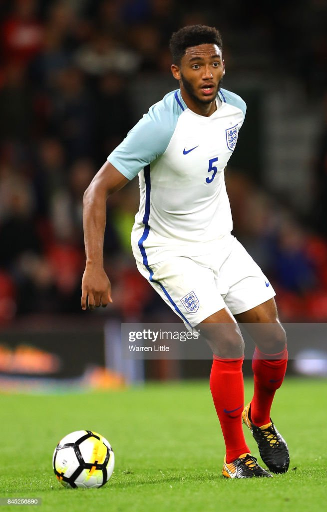 Joe Gomez of England in action during the UEFA Under 21 Championship Qualifiers between England and Latvia at the Vitality Stadium on September 5, 2017 in Bournemouth, England.