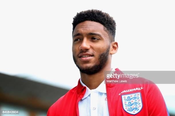 Joe Gomez of England looks on after an England Under 21 training session at St George's Park on August 30 2017 in BurtonuponTrent England