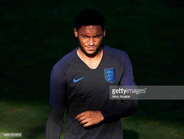 Joe Gomez of England looks on during an England training session ahead of their UEFA Nations League match against Spain at Estadio Benito Villamarin...
