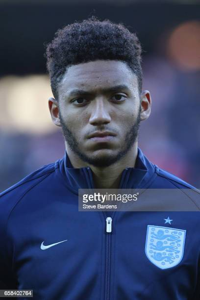 Joe Gomez of England looks on prior to the U21 international friendly match between Denmark and England at BioNutria Park on March 27 2017 in Randers...