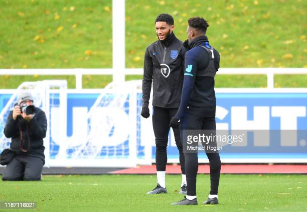 Joe Gomez of England trains during the England Training Session ahead of the UEFA Euro 2020 Qualifier match between England and Montenegro at St...