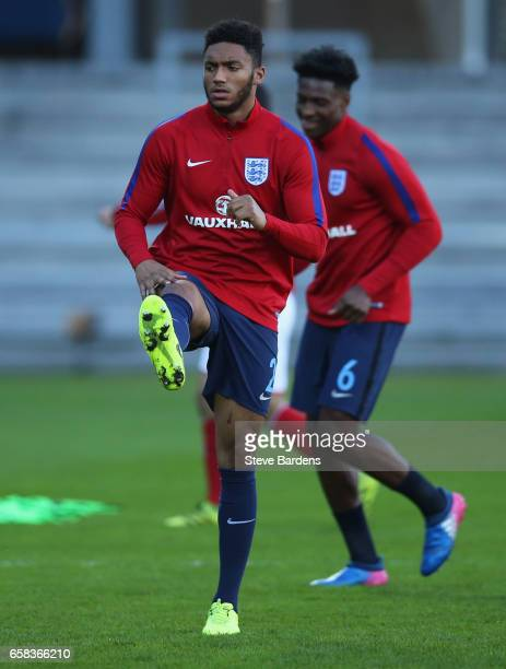 Joe Gomez of England warms up prior to the U21 international friendly match between Denmark and England at BioNutria Park on March 27 2017 in Randers...